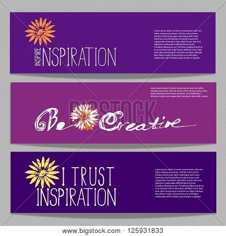 Set of motivational horizontal vector banners. Element for design to motivate using quotes. Template for creative banner with quotation motivated flyer design with quotes. Vector illustration.