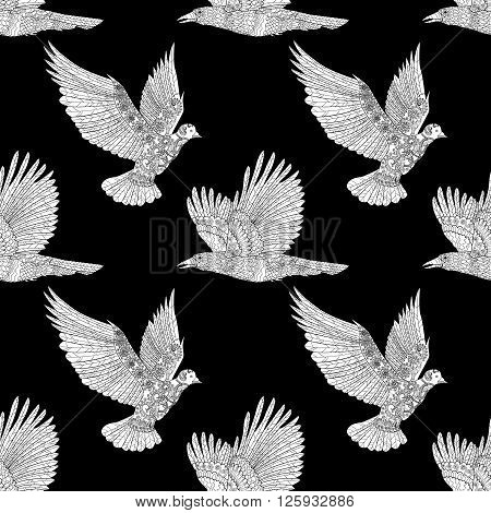 Seamless pattern with flying raven and dove with high details. Adult anti-stress coloring page with birds. Black white hand drawn doodle bird.Tile texture in zentangle style. Vector illustration.
