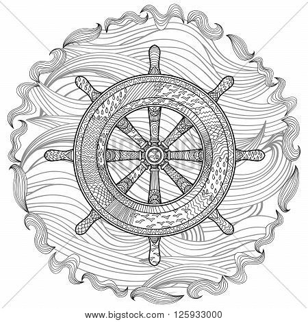 Hand drawn illustration of an helm in the zentangle style. Adult antistress coloring page with marine handwheel. Vector illustration.