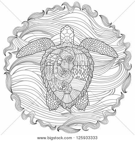 Hand drawn swimming turtle with high details for anti stress coloring page, illustration in zendoodle style. Sketch for tattoo, poster, print, t-shirt in zentangle style. Vector.