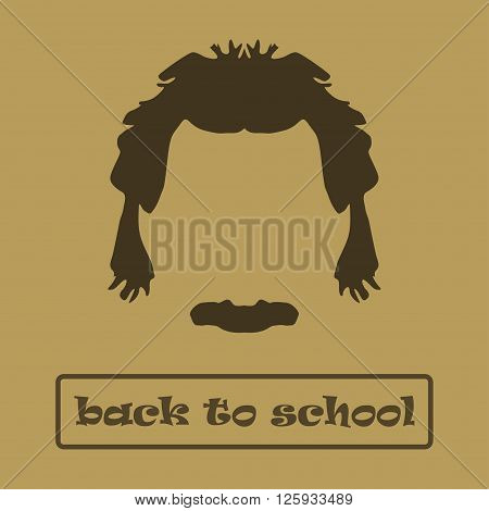 Icon hair and mustache Einstein. Vector illustration poster
