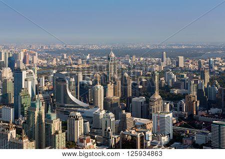 City business building aerial view, skyline, city business centre