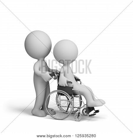 3d man in a wheelchair. 3d image. White background.