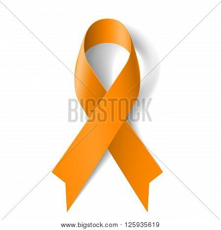 Orange ribbon as symbol of Animal Abuse leukemia awareness kidney cancer association