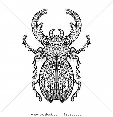 Ornate Giant Stag Beetle. Black and white decorative fancy insect hand drawn zentangle art isolated design element. Vector illustration.