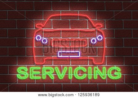 3D Illustration of a neon SERVICING sign and car outline against a dark brick wall