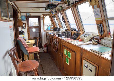THESSALONIKI GREECE - March 17.2016: Bridge (nautical) of modern excursion marine steamship