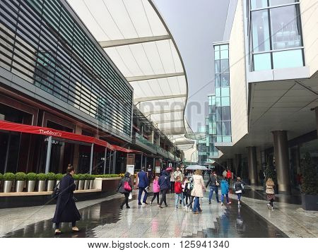 LONDON - APRIL 15: Westfield shopping centre on April 15, 2016 in Shepherds Bush, London, UK.