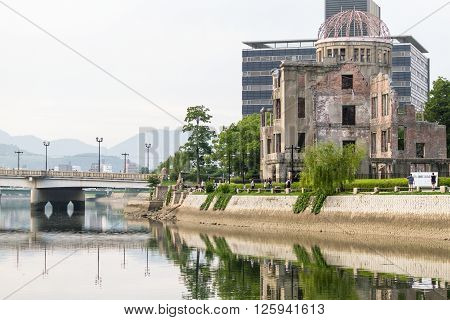 Hiroshima, Japan - July 10, 2014: The Atomic Bomb Dome (Hiroshima Peace Memorial) that was destroyed by the Atomic Bombing of Hiroshima (