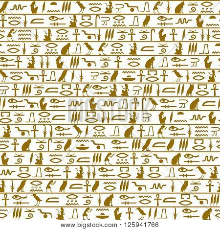 Egyptian seamless hieroglyphs pattern. gold characters on a white background