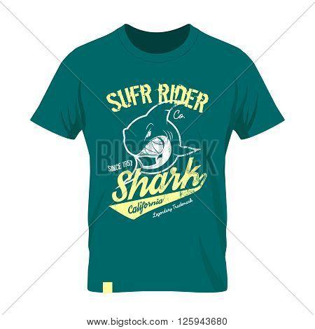Premium quality superior shark retro logo concept. Shabby t-shirt and hoodie emblem.