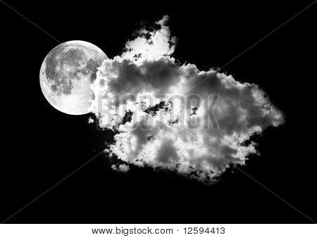 Moon Between The Clouds