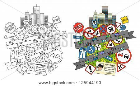 Colorful doodle Illustration on road traffic regulations and road signs with a composition of traffic signs, city buildings and roads with cars