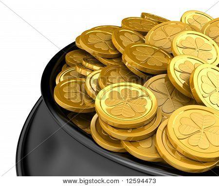 Pot full of golden coins