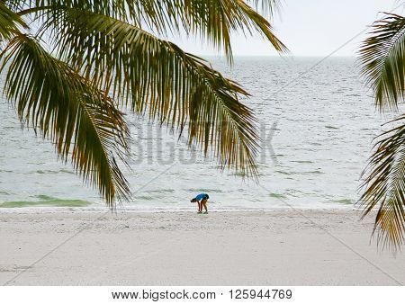 FORT MYERS BEACH, USA - MAY 11, 2015: Young woman tying up her shoelaces and getting ready for running on the beach. In the foreground some palm leaves in the back the Gulf of Mexico.