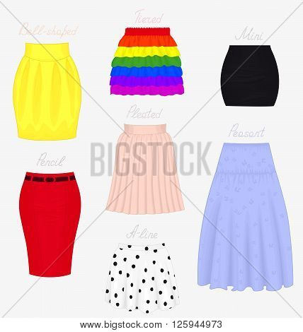 Set of different styles of skirts isolated on white background