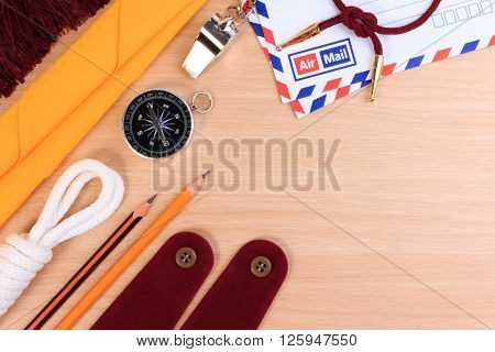 Orderliness White Scout Rope, Scarf, Whistle, Pencil, Compass, Envelope And Blank Shoulder Epaulette