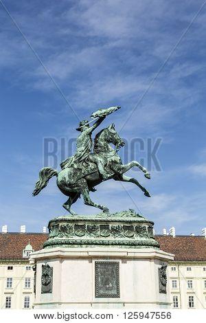 Austria, Archduke Karl Memorial On Heldenplatz In The Hofburg