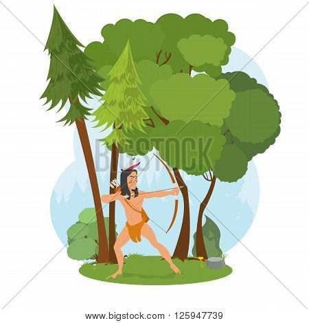 American Indian in the woods hunting. Indian hunts with a bow. young man aiming a bow. vector