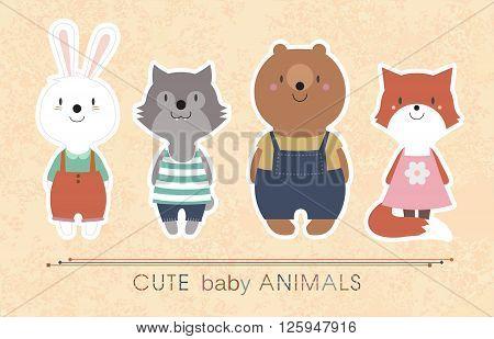 Set of cute animals - rabbit, wolf, bear, fox. Vector illustration EPS 10.