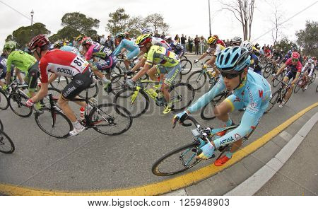 BARCELONA - MARCH, 27: Miguel Angel Lopez of Astana Team rides with the pack during the Tour of Catalonia cycling race through the streets of Monjuich mountain in Barcelona on March 27, 2016