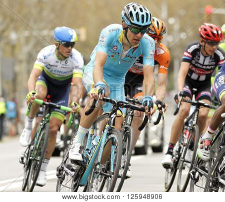 BARCELONA - MARCH, 27: Tanel Kangert of Astana Team rides during the Tour of Catalonia cycling race through the streets of Monjuich mountain in Barcelona on March 27, 2016