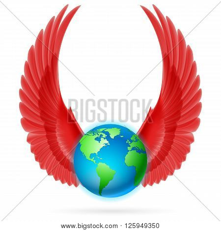 Terrestrial globe with two red wings up on white background.