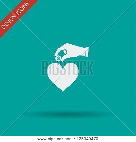 give alms web icon. vector design. Modern design flat style icon