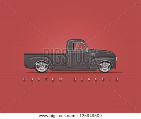 American classic custom pickup. High detailed vector illustration.