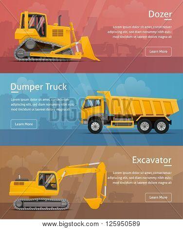 Dumper, Excavator, Dozer. Web Banners. Highly detailed vector illustration.