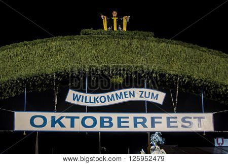 MUNICH, GERMANY - SEPTEMBER 18: Nightshot of the main entrance gate to the Oktoberfest at Theresienwiese in Munich