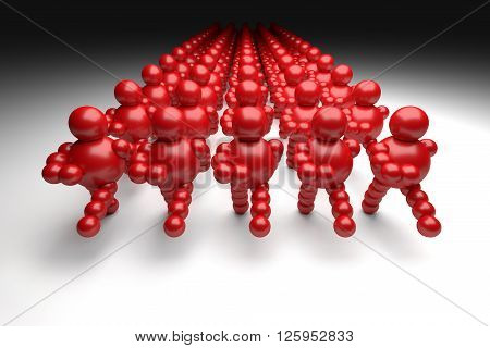 3D abstract red marching in military order