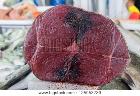 Fresh raw tuna stices at city market ** Note: Soft Focus at 100%, best at smaller sizes