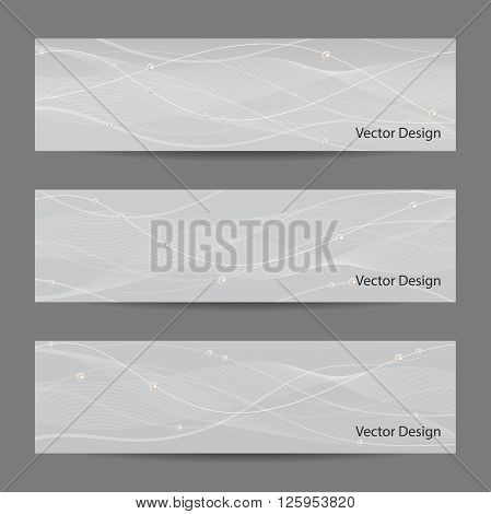 Set of horizontal banners with white stripes, veil and pearls on gray background for use in your designt.