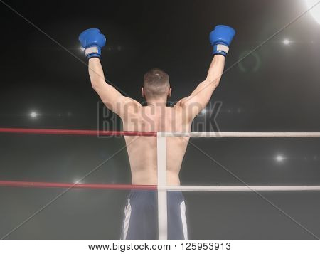 Male boxing champion in blue shorts standing in the ring under floodligths raising hands after victory, back view