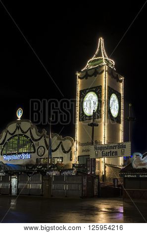 MUNICH, GERMANY - SEPTEMBER 18, 2015: Nightshot of the Augustiner tent on Theresienwiese with the famous tower