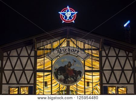 MUNICH, GERMANY - SEPTEMBER 18, 2015: Nightshot of the Braeurosl tent on Theresienwiese
