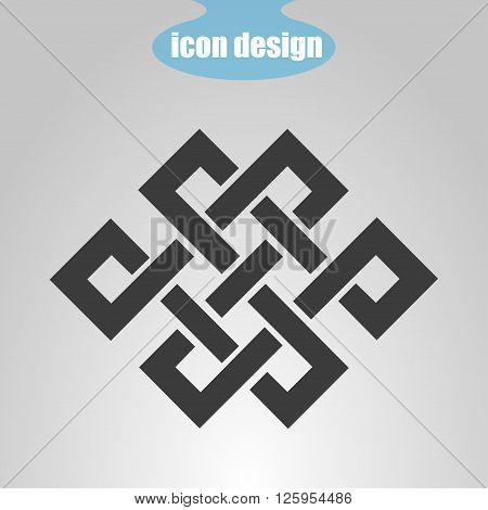 Icon endless knot on a gray background. Vector illustration. Buddhist symbol