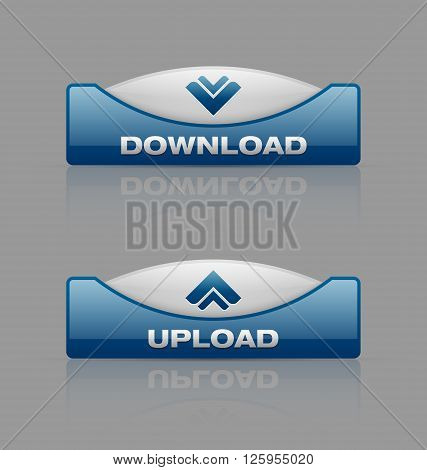 Glossy download and upload buttons useful for webdesign purposes