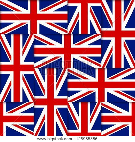 Seamless pattern composed from national flags of the United Kingdom