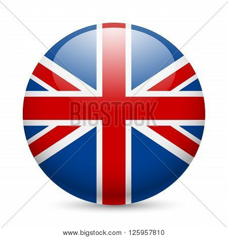 Flag of Great Britain as round glossy icon. Button with British flag