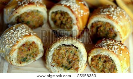 Sausage Rolls; Bite-sized, finger food appetizer (appetiser)