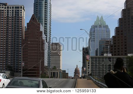 March 19, 2016, Austin, Texas. South by Southwest Annual music, film, and interactive conference and festival, SWSX. Downtown Austin, Congress Avenue ** Note: Visible grain at 100%, best at smaller sizes