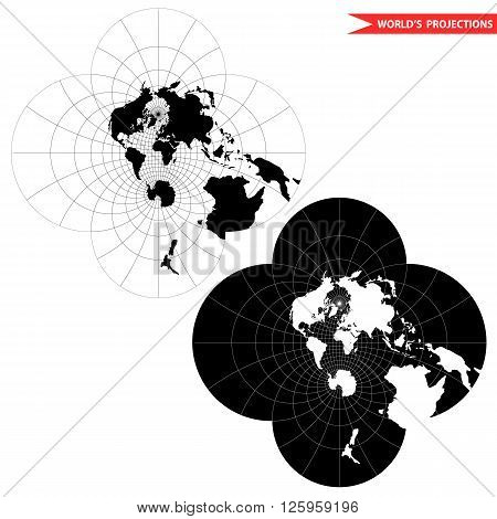 stereographic world map projection. Black and white world map vector illustration.