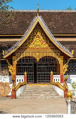 Architectural detail of a temple in Luang Prabang, Laos