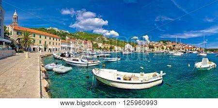 Coastal town of Hvar waterfront panorama Dalmatia Croatia poster