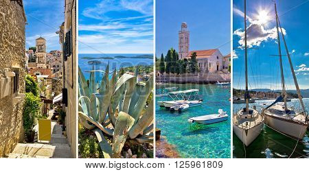 Island of Hvar tourist collage Dalmatia Croatia