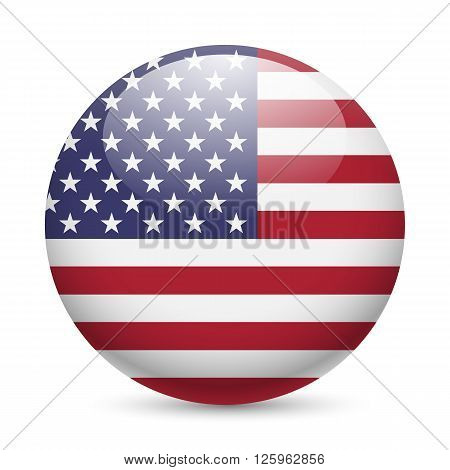 Flag of USA as round glossy icon. Button with American flag