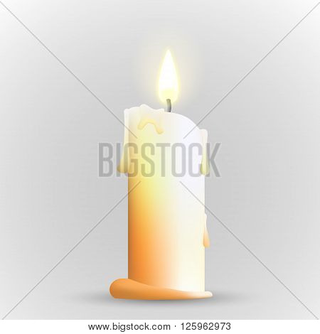 Isolated realistic candle. Vector illustration of candle. Candle with flame. Burning candle.