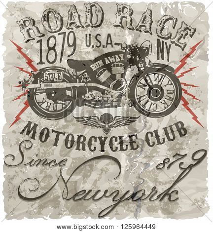 Motorcycle label t-shirt design with illustration of custom chopper poster